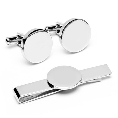 Engravable Round Infinity Cufflinks and Tie Bar Gift Set Ox and Bull Trading Co. Tie Bar Gift Set - Paul Malone.com