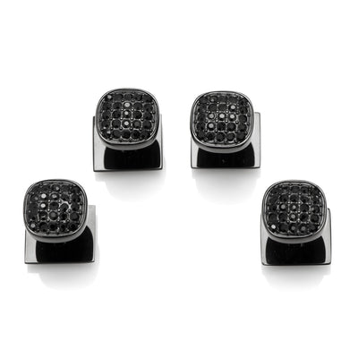 Black Stainless Steel Black Pave Crystal Studs Ox and Bull Trading Co. Studs - Paul Malone.com