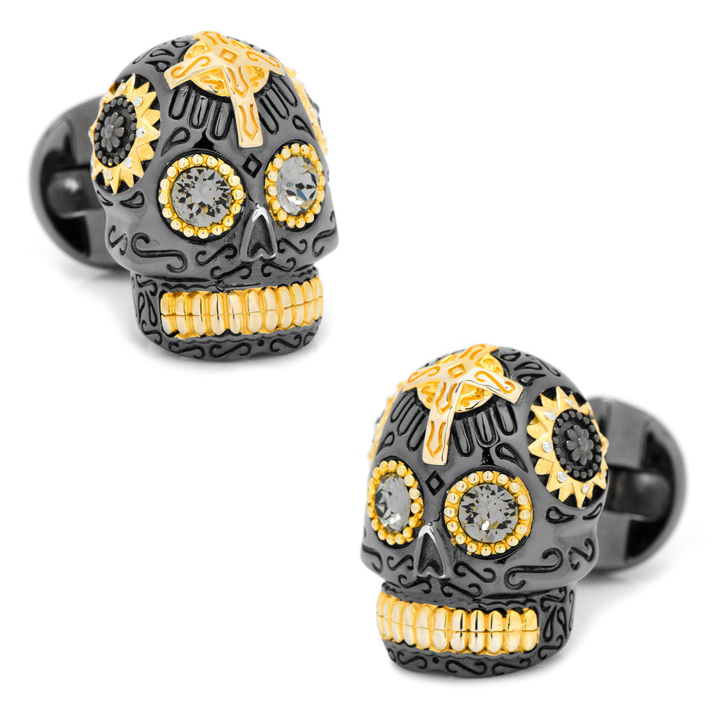 Black and Gold Vermeil Day of the Dead Skull Cufflinks Ox and Bull Trading Co. Cufflinks - Paul Malone.com