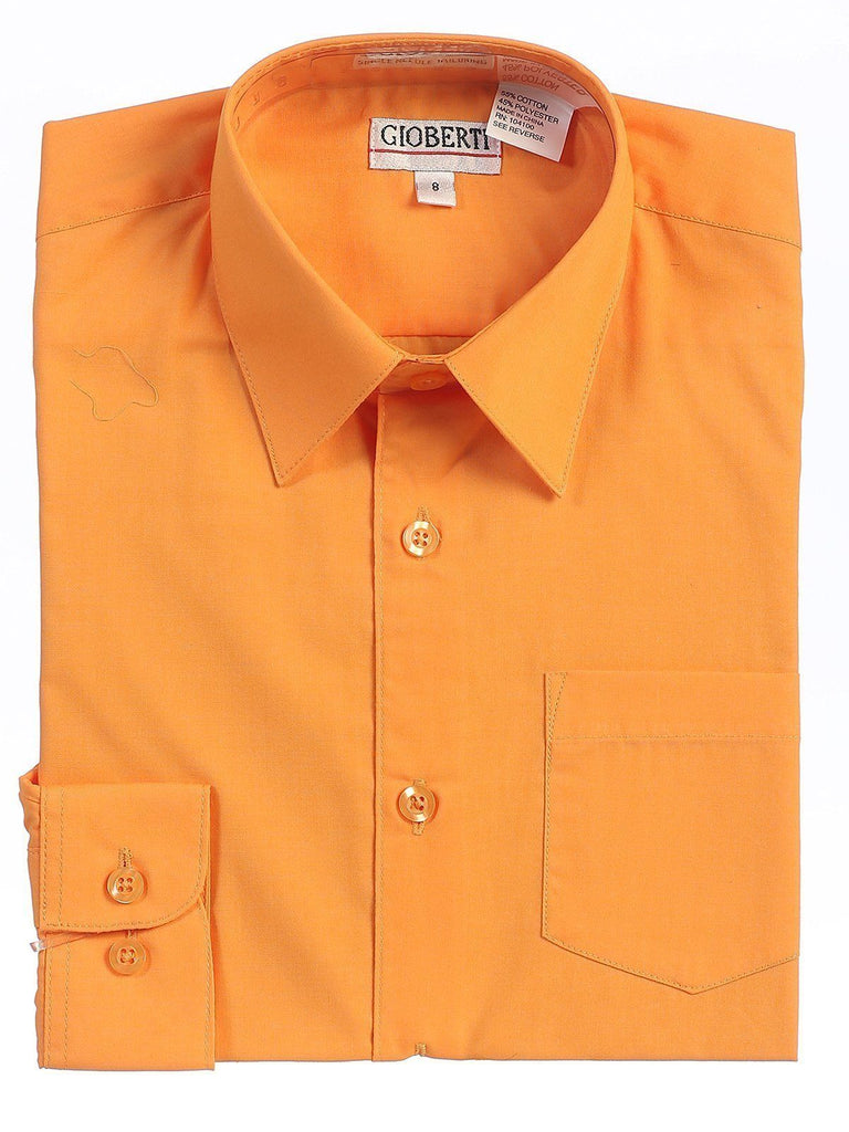 Classic Lite Orange Boys Dress Shirt Gioberti Shirts - Paul Malone.com