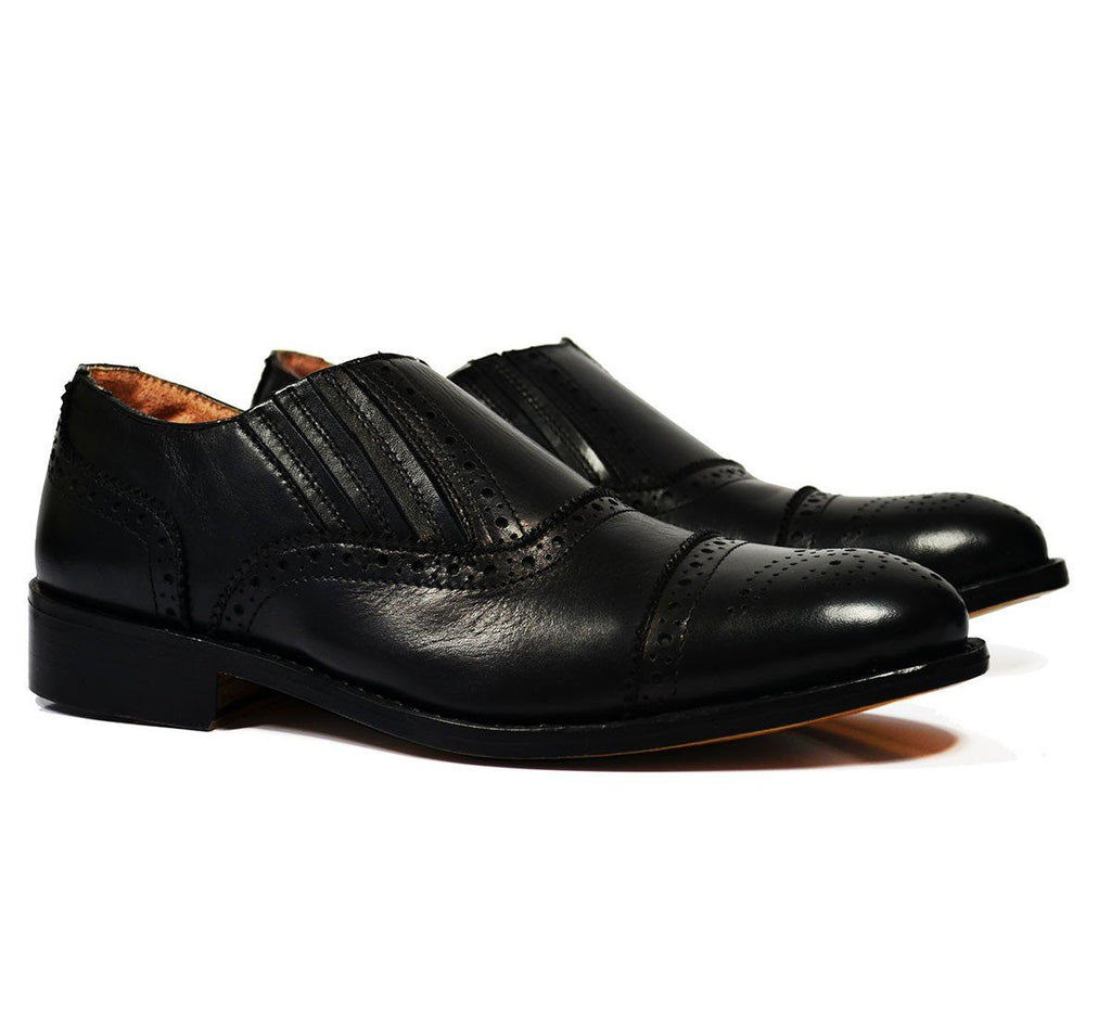 OSCAR Black Wing-Tip Loafers, All Leather by Paul Malone Paul Malone Shoes - Paul Malone.com