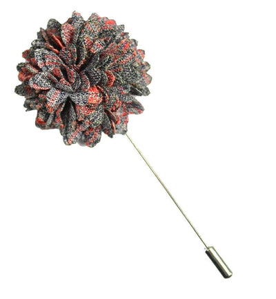 Grey and Coral Lapel Flower Paul Malone Lapel Flower - Paul Malone.com