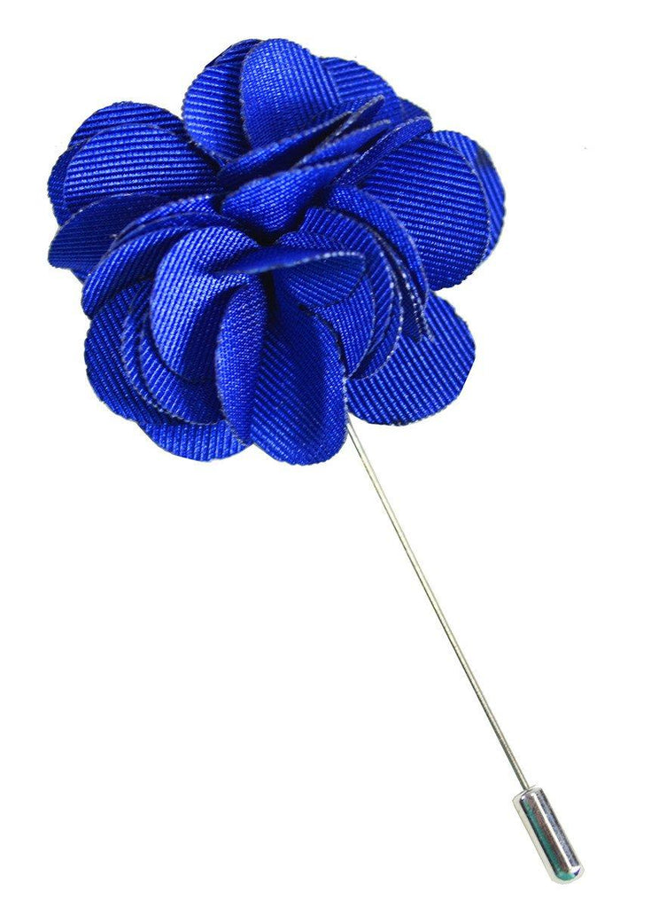 Solid Blue Lapel Flower Paul Malone  - Paul Malone.com