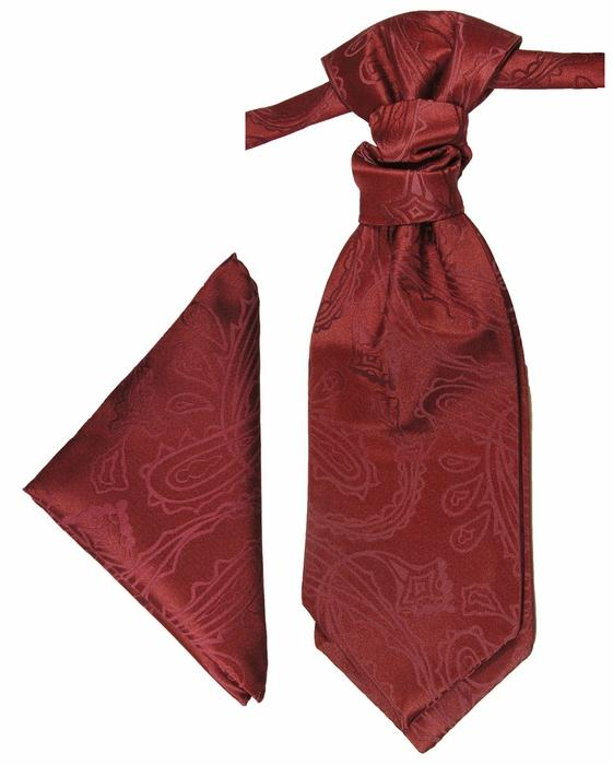 Burgundy Paisley Cravat and Pocket Square Set Paul Malone