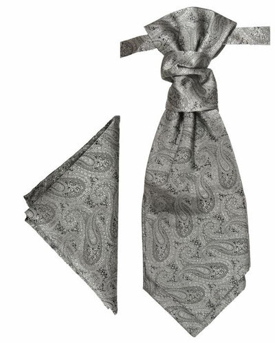 Silver Paisley Cravat and Pocket Square Set Paul Malone Cravat - Paul Malone.com