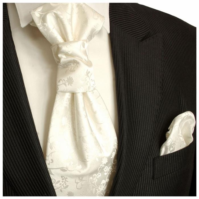 Ivory Vines Cravat and Pocket Square Set Paul Malone