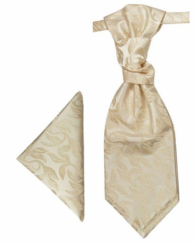 Ivory Cravat and Pocket Square Set