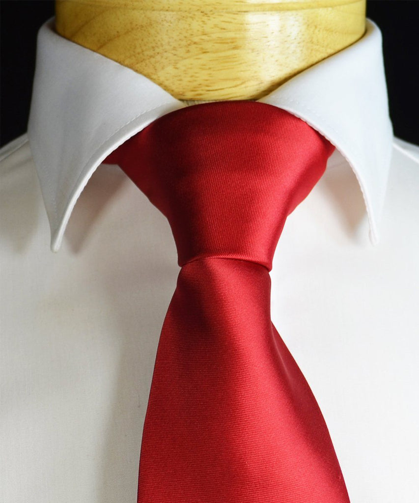 Solid True Red Necktie and Pocket Square Paul Malone Ties - Paul Malone.com