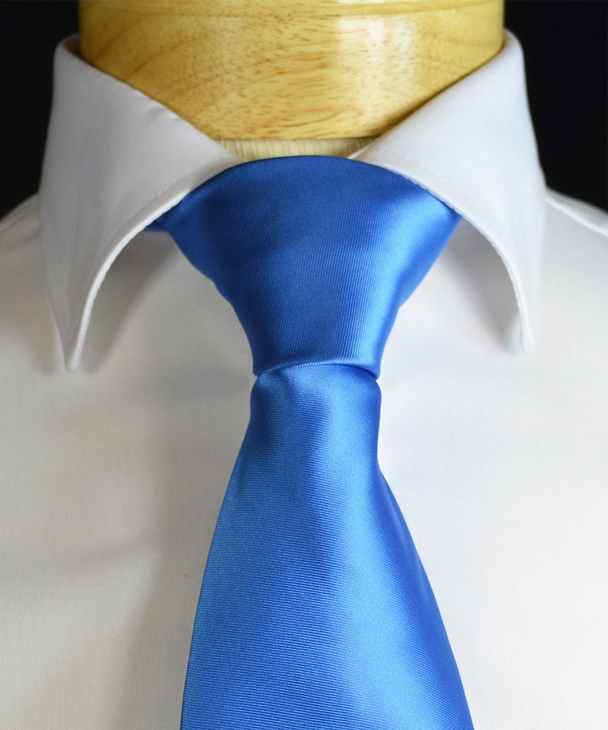 Solid Blue Necktie and Pocket Square Paul Malone Ties - Paul Malone.com