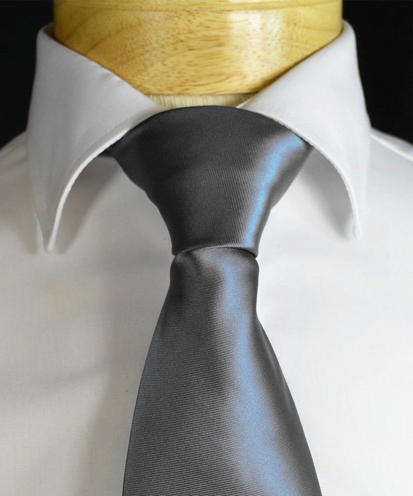 Solid Charcoal Necktie and Pocket Square Paul Malone Ties - Paul Malone.com