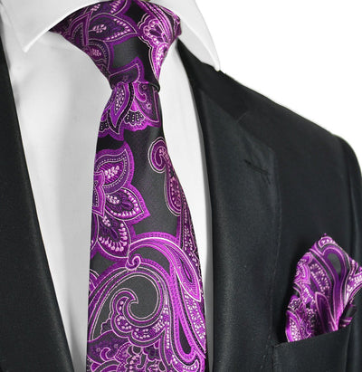 Hot Pink and Black Paisley Necktie and Pocket Square Paul Malone Ties - Paul Malone.com