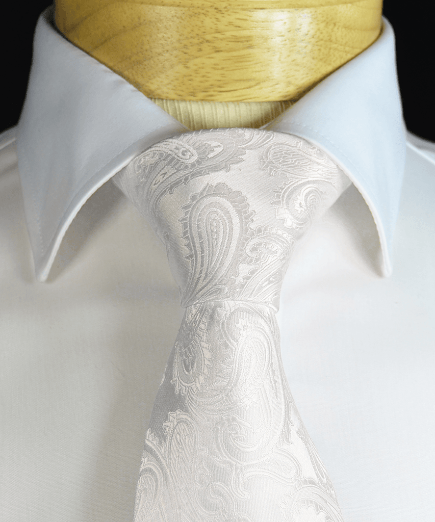 White Paisley Necktie and Pocket Square Paul Malone Ties - Paul Malone.com