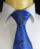 Blue and Black Paisley Necktie and Pocket Square Paul Malone Ties - Paul Malone.com