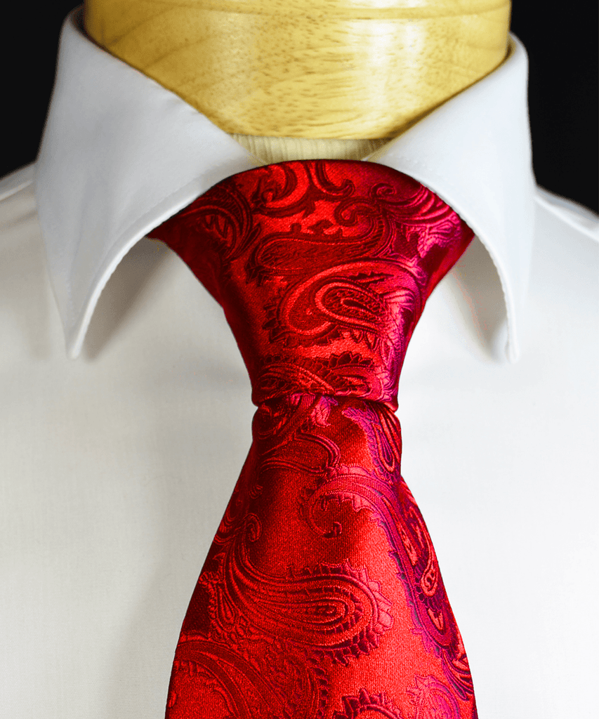 Red Paisley Necktie and Pocket Square Paul Malone Ties - Paul Malone.com