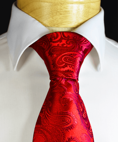 Red and Silver Paisley Men's Tie