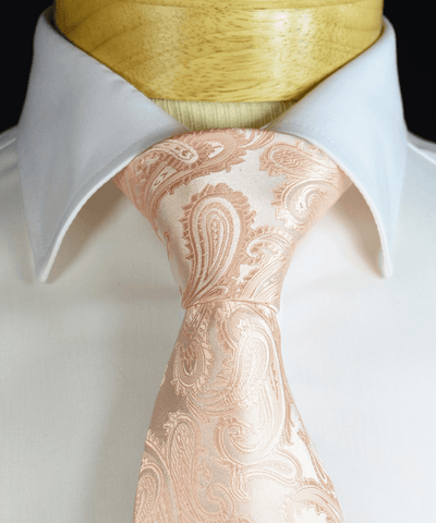 Blush Pink Paisley Wedding Tie and Pocket Square Paul Malone Ties - Paul Malone.com