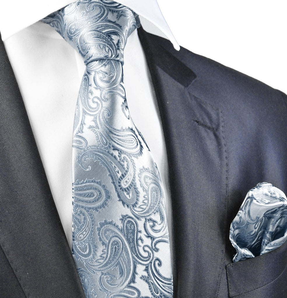 Silver Paisley Necktie and Pocket Square Paul Malone Ties - Paul Malone.com