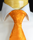 Cadmium Orange Paisley Necktie and Pocket Square Paul Malone Ties - Paul Malone.com