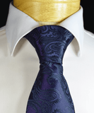 Navy Blue Paisley Necktie and Pocket Square Paul Malone Ties - Paul Malone.com