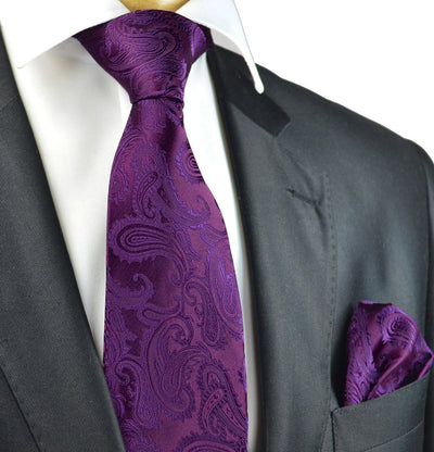 Crown Jewel Paisley Necktie and Pocket Square Paul Malone Ties - Paul Malone.com