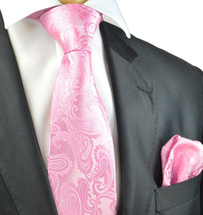 Pink Paisley Necktie and Pocket Square Paul Malone Ties - Paul Malone.com
