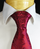 Burgundy Paisley Necktie and Pocket Square Paul Malone Ties - Paul Malone.com