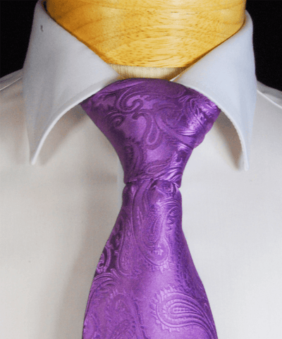 White Paisley Necktie and Pocket Square