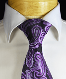 Purple and Black Paisley Necktie and Pocket Square Paul Malone Ties - Paul Malone.com
