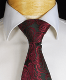 Burgundy and Black Paisley Necktie and Pocket Square Paul Malone Ties - Paul Malone.com