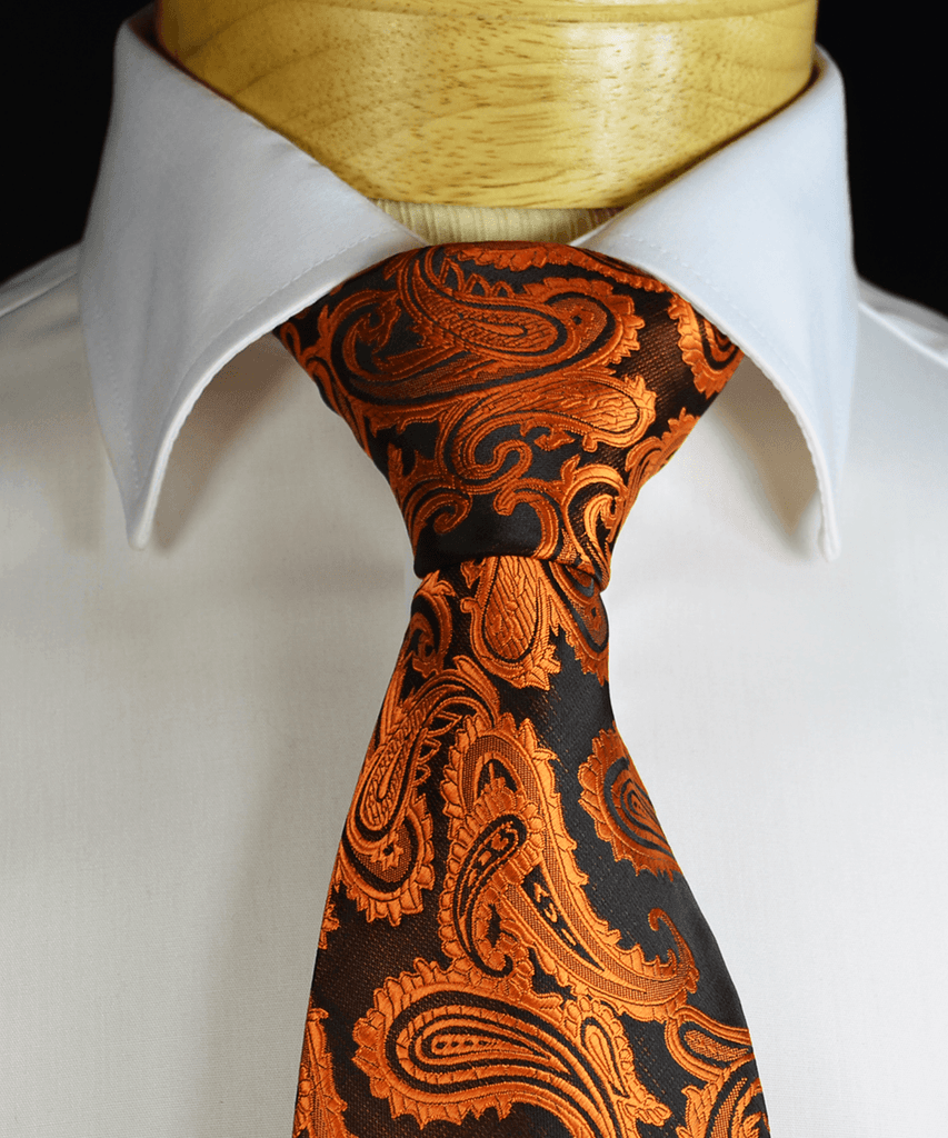 Copper and Black Paisley Necktie and Pocket Square Paul Malone Ties - Paul Malone.com