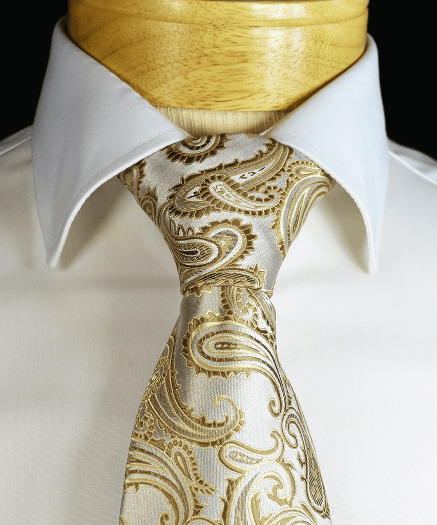 Tan Paisley Necktie and Pocket Square Paul Malone Ties - Paul Malone.com