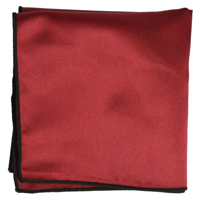 Solid Pocket Square in Burgundy with Black Border Paul Malone  - Paul Malone.com