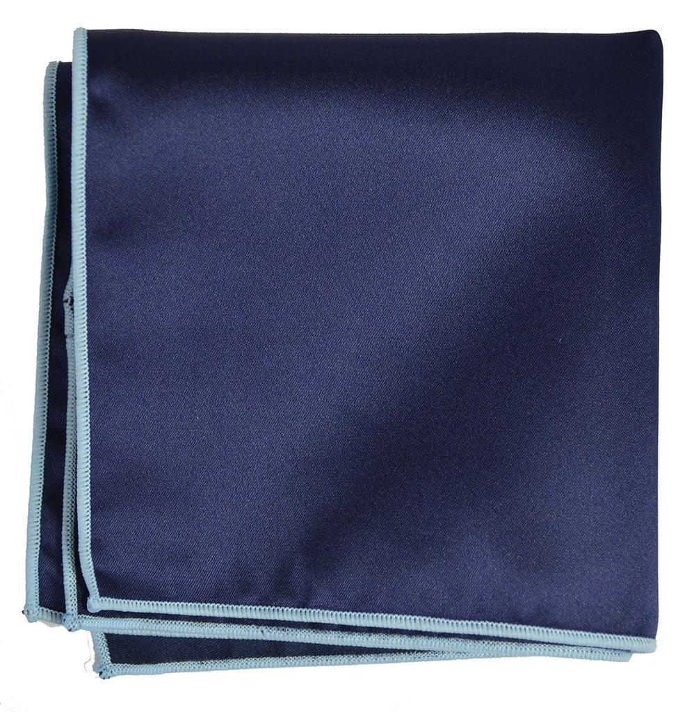 Solid Pocket Square in Navy with Light Blue Border Paul Malone  - Paul Malone.com