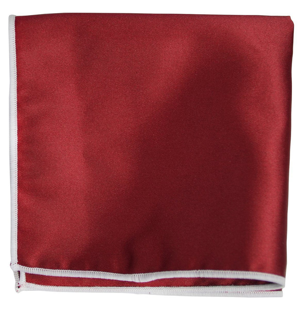 Solid Pocket Square in Dark Red with White Border Paul Malone  - Paul Malone.com