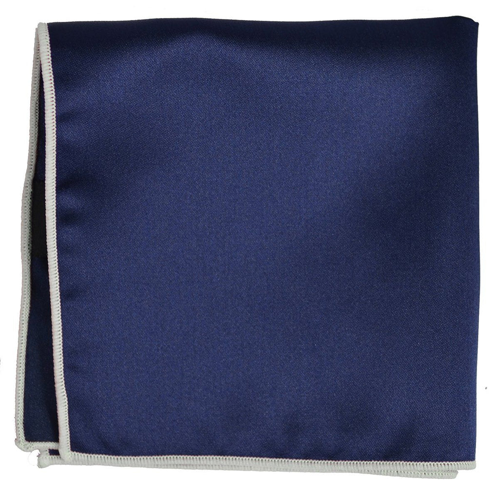 Solid Pocket Square in Navy with White Border Paul Malone  - Paul Malone.com