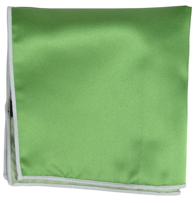Solid Pocket Square in Green with White Border Paul Malone  - Paul Malone.com
