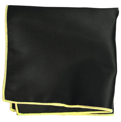 Solid Pocket Square in Black with Yellow Border Paul Malone  - Paul Malone.com