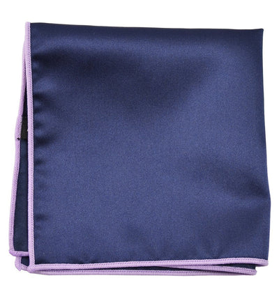 Solid Pocket Square in Navy with Purple Border Paul Malone  - Paul Malone.com