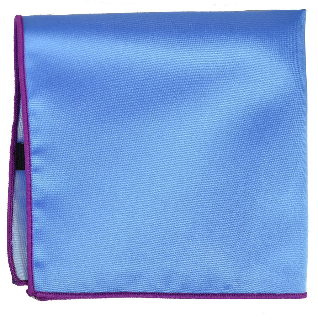 Solid Pocket Square in Blue with Hot Pink Border Paul Malone  - Paul Malone.com