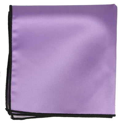 Solid Pocket Square in Purple with Black Border Paul Malone  - Paul Malone.com
