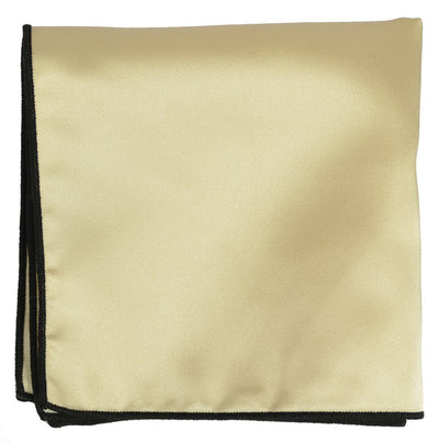 Solid Pocket Square in Champagne with Black Border Paul Malone  - Paul Malone.com