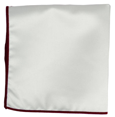 Solid Pocket Square in White with Dark Red Border Paul Malone  - Paul Malone.com