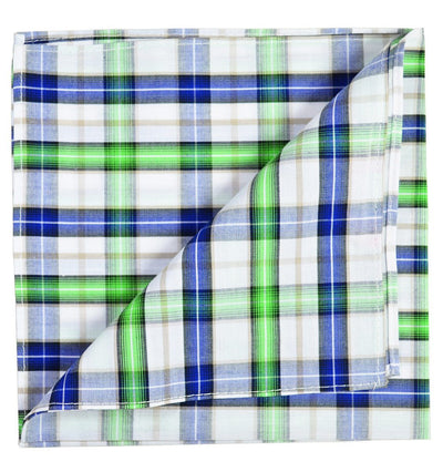 Green and Blue Plaid Cotton Pocket Square Paul Malone  - Paul Malone.com