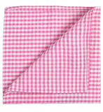Pink Checkered Cotton Pocket Square Paul Malone  - Paul Malone.com