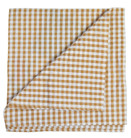 Red Plaid Cotton/Linen Blend Pocket Square