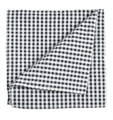 Black Plaid Cotton/Linen Blend Pocket Square