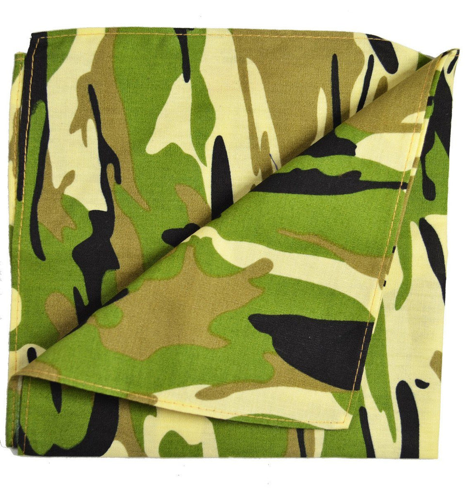Green and Beige Camouflage Cotton Pocket Square Paul Malone  - Paul Malone.com