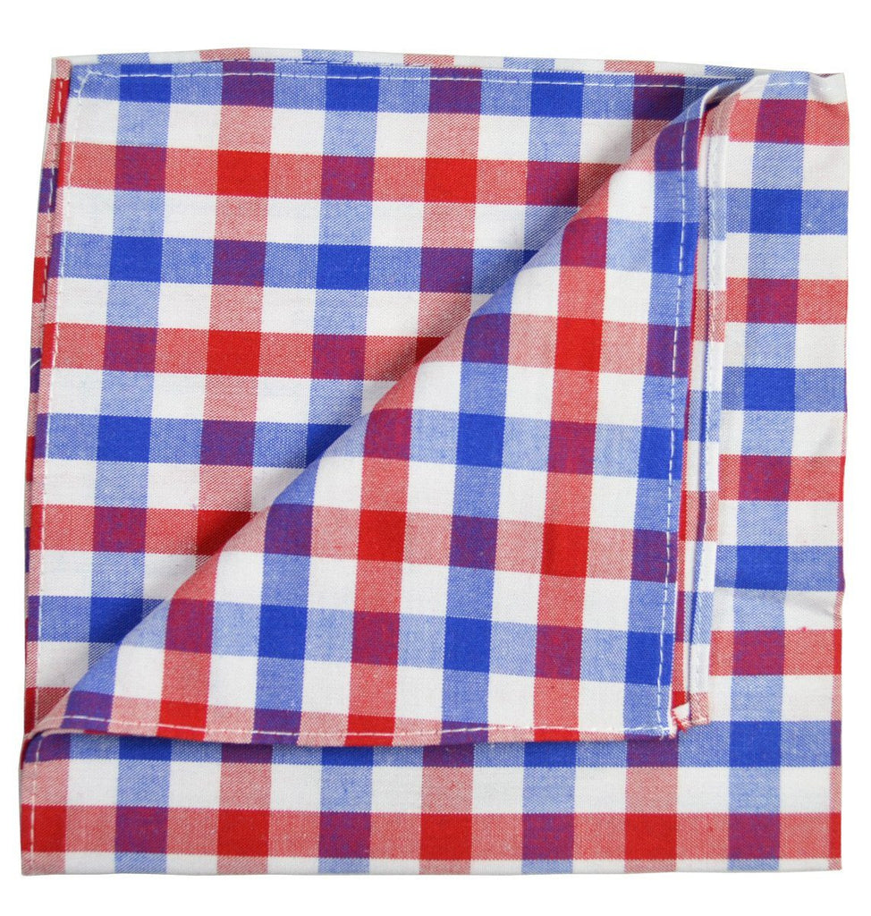 Red and Blue Plaid Cotton Pocket Square Paul Malone  - Paul Malone.com