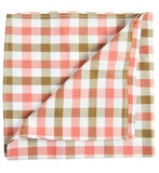 Beige and Pink Plaid Cotton Pocket Square Paul Malone  - Paul Malone.com
