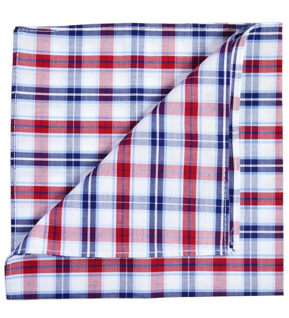 Blue and Red Plaid Cotton Pocket Square Paul Malone  - Paul Malone.com